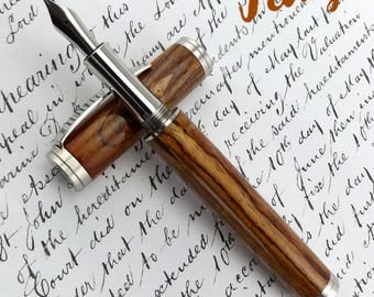 Special Reserve Cocobolo wood SR Capel Fountain Pen in Stainless Steel (1073)