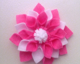 Felt flower brooch/hair barrette-Pink and white felt flower brooch