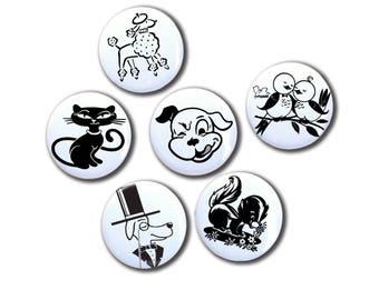 Retro Pet Magnet Set | Dog Cartoon magnet | Cat lover magnet | Vintage Pet print | Retro Refrigerator Magnet Set | Hostess Gift