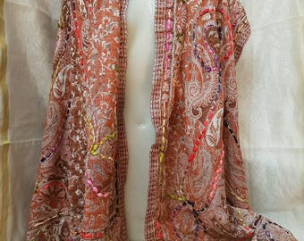 Indian multicolor jacquard scarf, hand embroidered scarf, boho scarf, ethnic scarf