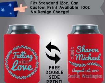 Falling In Love Names Date City State Collapsible Fabric Wedding Cooler Double Side Print (369) Can Cooler