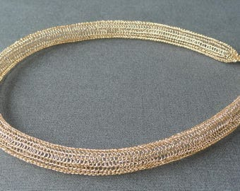 Gold chain chain knitted chain golden choker crochet jewelry gold necklace short Necklace Gold