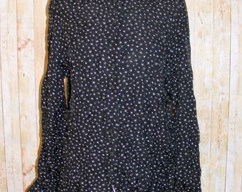 Size 14 vintage 80s loose fit long sleeve shirt black tiny star print (HZ36)