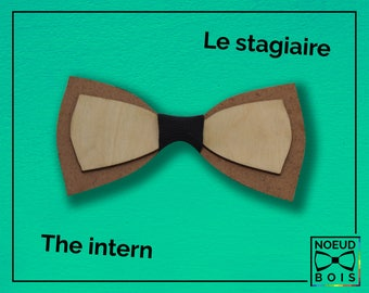 Wooden bow tie, Intern Pattern, color, laser cut, engraved, customizable, simple, class, work, unique, rustic, adult, child