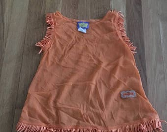 20% off -- 1990's disney pocahontas sheer tank top dress costume with fringe - size