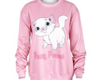 Power kitty pink sweater
