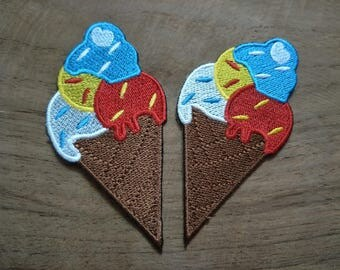 Ice Cream Cone Embroidery Applique Iron On Patch 2Pcs.