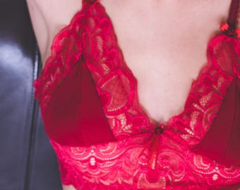 Red lace bra / Rosella red lace triangle bra