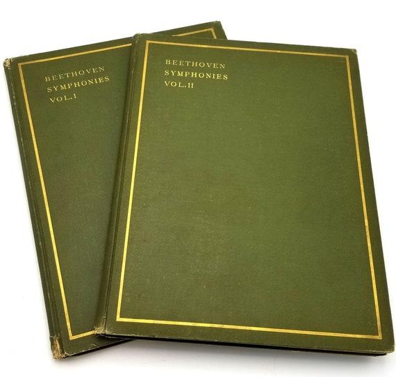 Beethoven Symphonies 1-9 in 2 Hardcover HC volumes Piano ca. 1900 C.F. Peters German Language