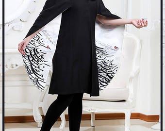 Hafez Persian Calligraphy  Handmade Coat Jacket Pancho Manteu