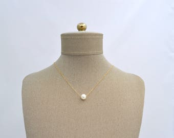Fresh Water Pearl Gold Filled OR Sterling Silver Necklace // Bridesmaids Gift // Layering Necklace // Minimalist Dainty
