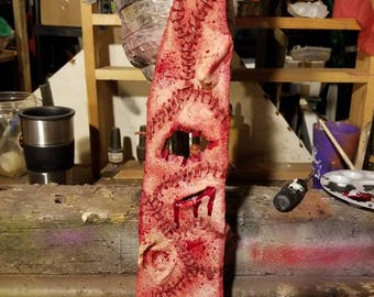 Human Skin Tie custom scary halloween bloody