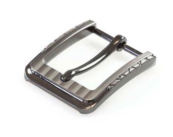 Belt buckle / belt buckle metal, 30 mm, silver, various variants (color: D)
