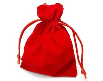 10 high-quality velour - bags, 85 x 120 mm, Red