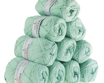 10 x 50g knitted yarn TEREZKA 100% cotton, #118 coloured