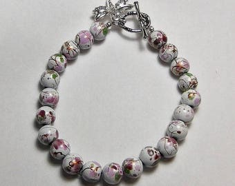 Magnetic Flower Bead Bracelet with Dragonfly Charm