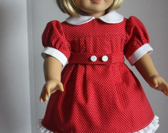 Red pindot dress and petticoat, American Girl dress, Fits 18 inch American Girl doll