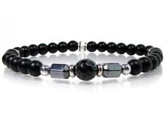 Onyx and Hematite,Men Bracelet,Mens Gift,Mens Bracelet,Gift for Men,Men Gemstone Bracelet,Beaded Bracelet,Handmade Gemstone Bracelet
