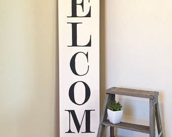 WELCOME or BLESSED // Handmade Hand Painted Wood Sign // Farmhouse Style // Farmhouse Decor // Fixer Upper