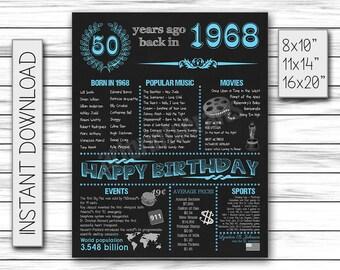 1968 Birthday Chalkboard Poster Sign, 1968 Birthday, 1968 Birthday gift for Men, Chalkboard Poster, Printable DIGITAL FILE Only, JPG