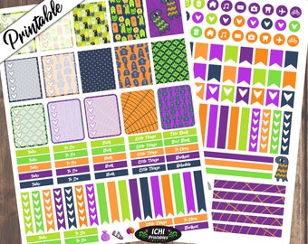 Monsters & Ghouls Halloween Weekly Kit, Halloween Printable Planner Stickers, Vertical, ECLP, For use with Erin Condren Life planner™