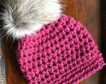 Raspberry Slightly Slouchy Women's Winter Hat with faux-fur pom pom