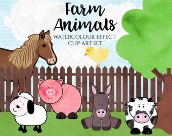 Watercolour Animal Clip Art - Farm Clip Art - Farm Animals - Watercolour Clip Art - Sheep - Donkey - Chic - Pig  (DIGITAL DOWNLOAD)