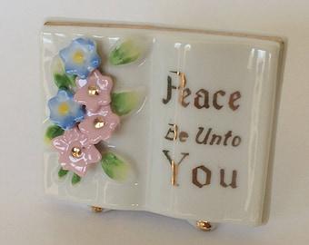 Vintage Small Open Book Peace Be Unto You Applique Flower Figurine