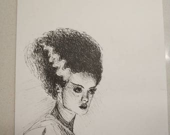 Bride of Frankenstein - inktober original