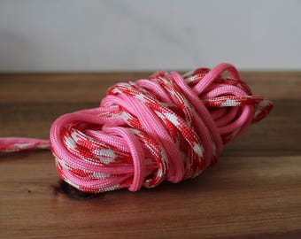 SEASONAL Pink & Red Paracord Dog + Cat Collar -Multiple Weaves-