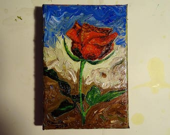 "Original Oil Painting ""Rose"" with Spatula Mother's Day (Oil on canvas, 10x15cm) Pintura óleo Portugal"