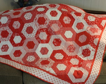 Red and white quilt,  One-of-a-kind quilt, Couch Quilt, Throw, Handmade Quilt, Shower Gift
