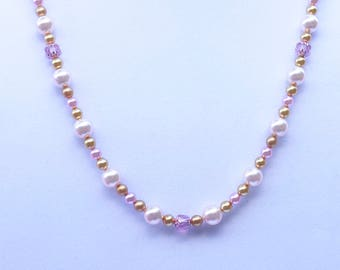 Swarovski pearl and round gold bead necklace