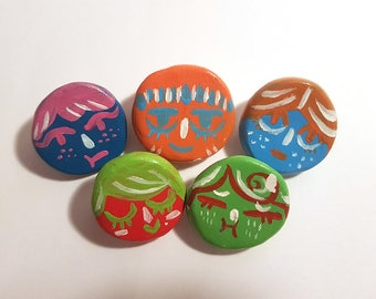 Hand-Painted Face Badges