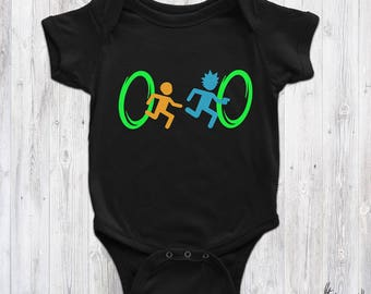 Rick And Morty Portal Hopping Inspired Baby Bodysuit / Rick And Morty Gamer Bodysuit/Cute Portal Rick and Morty Baby Vest Gift/