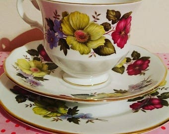 Vintage Gainsborough 1960s / 1970s china trio - Teacup / coffee cup and saucer, side / dessert plate stamped D 47 4 - afternoon tea - retro