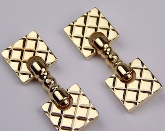 14k gold quilted cufflinks #10151