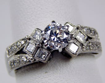 18k white gold 1 Ctw diamond engagement ring #10574