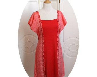 Cherry cotton jersey and coral jersey tunic dress embroidered in pink cotton trapeze dress and coral red dress short cotton embroidered