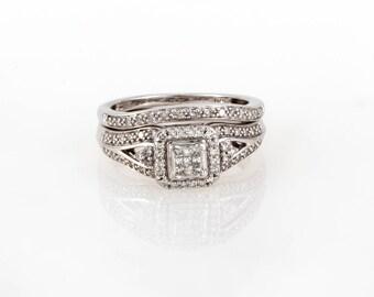 Beautiful 10K White Gold 1.00 CTW Bridal Engagement Ring Set - Size 7