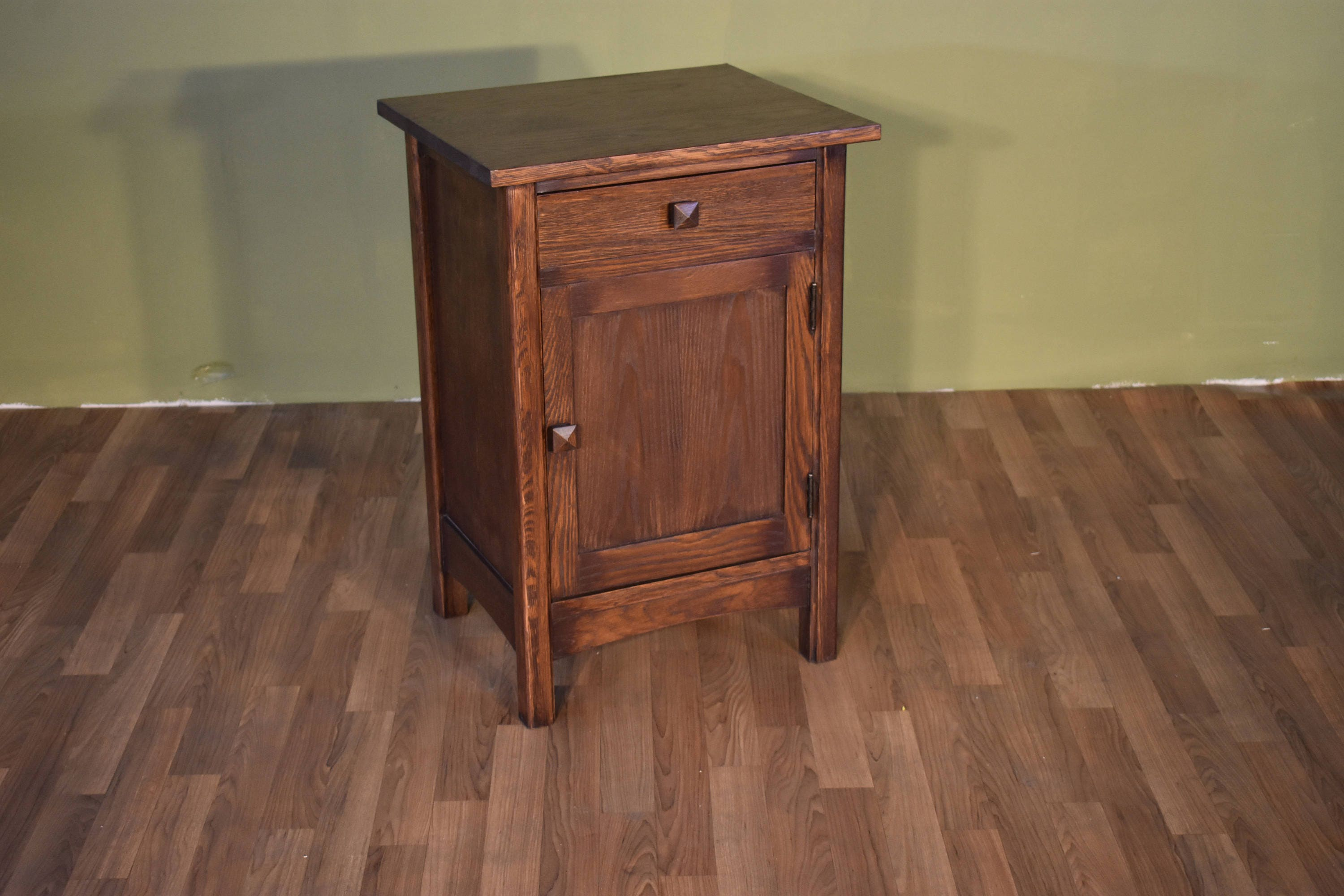 Mission Style Solid Oak Nightstand End Table With Drawer And