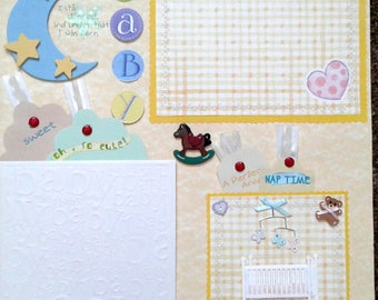 Baby pre-made scrapbook pages by Juliet 12x12