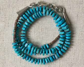 Vintage Turquoise Heishi Necklace Native American Sterling Silver Clasp Turquoise Beads Southwest Boho Style
