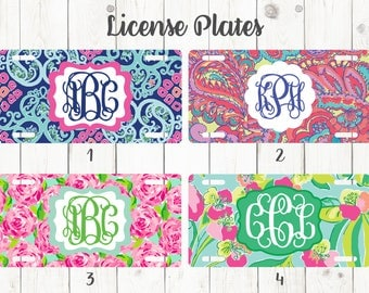 Lilly Inspired Monogrammed License Plates