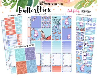 Printable Planner Stickers, Spring Stickers A5 Weekly Sticker Kit Butterflies Planner Stickers ECLP Weekly Vertical Sticker Kit