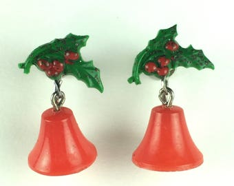 Vintage Earrings-bells-Christmas-red-green-colorful-cheerful-Ohrschrauben-1950s-Mad Men-Gift