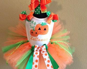 My 1st Halloween pumpkin tutu set