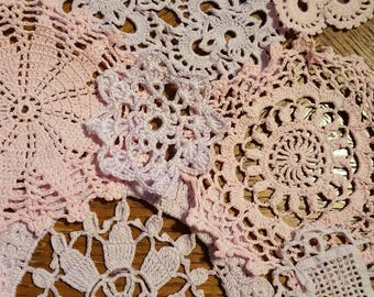 Small pink and violet Pastel doily bundle
