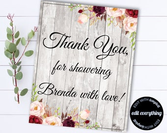 Thank you Sign - Baby Shower Thank you Sign - Baby Shower Sign - Instant Download Thank You For Coming Bridal Shower Sign - Printable Sign