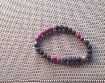 Bracelet lava stone and Burgundy pearls